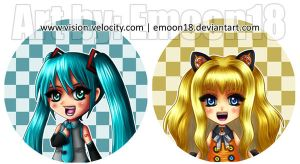 Fanart - Miku Hatsune and SeeU buttons by Emoon18