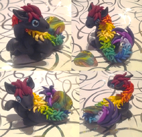 Black Oriental Rainbow Guitar Pick Dragon by Alexandrite-Dragons