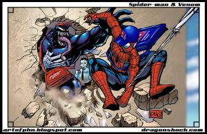 Spider-man and Venom Colored by mastafuu