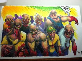 Zombie March 11x 17 by colepetersonart