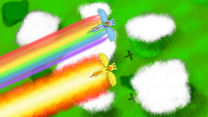 Dashie and Spitfire, Flying High by Flutterknight