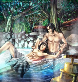 Brothers in the Hotspring by Lairam