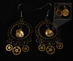 Steampunk Earrings 03 by PhoenixII