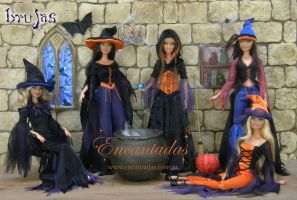 WITCHES COSTUMES FOR BARBIE SIZED DOLLS by Encantadas