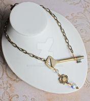 Steampunk Key Necklace Crystal by dbvictoria