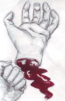 bloody study of a hand by Agniech
