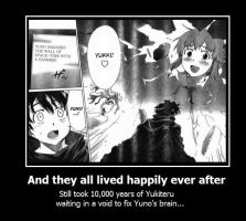 Future Diary Demotivational Poster Ending by kharec84
