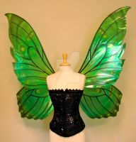Delia's giant green butterfly fairy wings front by FaeryAzarelle