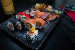 Sushi plate menu by BlackFlamingoPhoto