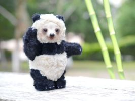 Teddy Bear Panda.Mixed media. OOAK by SulizStudio