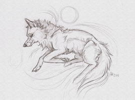 Wolf sketch by BlueSpiritWolf6