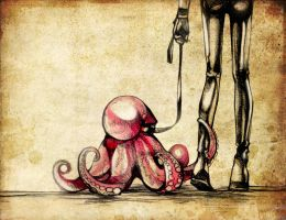 He and his octopus by Hija--Turner
