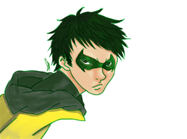 Pug faced Robin - Damian Wayne by irenerei