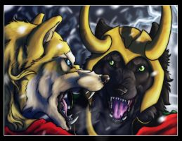 .:Wolf-Thor and Loki-Battle scene:. by Mayasacha