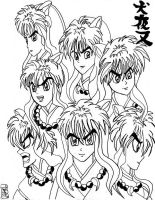 Inuyasha Expressions by KwongBee-Arts