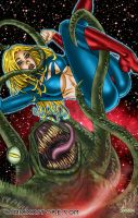 Galaxima vs. Space Monster Pin-Up by Superheroine-Art