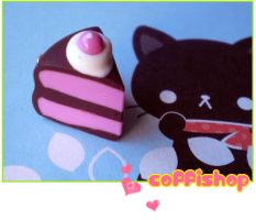 Pink chocolate cake charm by coffishop