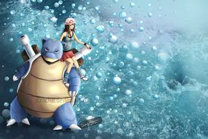 Trainer Blue and Blastoise by Sornchai