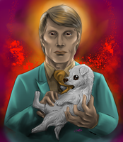 Hannibal and a puppy by FuriarossaAndMimma