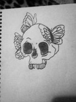 Skull and butterflies by Megalomaniacaly
