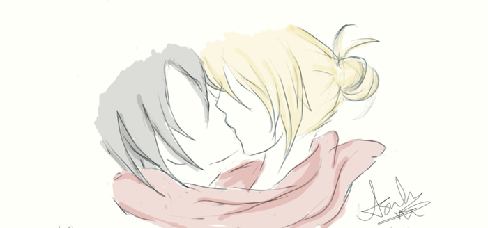 15 min doodly thingy (Mikasa x Annie) by YourForgetfulSensei