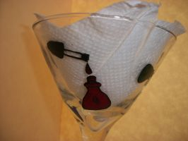 Martini Glass Painted With Nail Polish Bottles 1 by QueenAliceOfAwesome