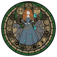 Stained Glass: Merida -WIP 2- by Akili-Amethyst