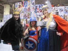 lady loki thor and captain america by WhiteFox89