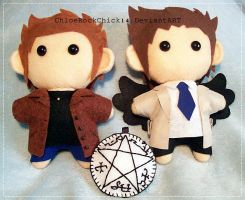 Dean Winchester and Castiel plushie by ChloeRockChick14