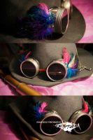 Feathered Goggles : Blue + Pink by erebus-odora