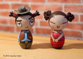 Pucca and Garu Inspired Kokeshi Dolls Wild West by ZanetaGc