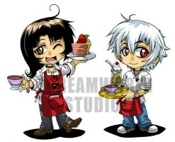 Micah n Tristan - Cafe Chibis by DreamworldStudio