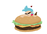 Franky Chibi and Hamburger by straw-hat