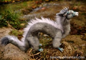 Silver aqua dragon spirit by LisaToms