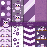Night time Purple Owls Digital Paper Goods by artistaq8