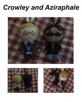tiny little Crowley and Aziraphale by Lilithart13
