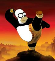 Kung Fu Homer the Panda by darthraner83