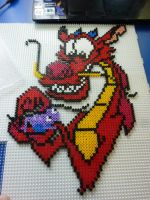 My Hama / Perler Mushu by Poisonable