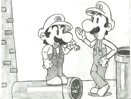 Mario bros  retro cartoon by dynodev