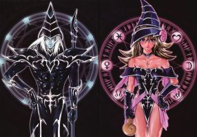 Dark Magician and Dark Magician Girl artwork by toailuong