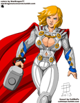 Coloring Commission - CallMePo - PowerGirl as Thor by StarDragon77