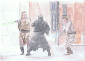 Qui-Gon and Obi-Wan VS Darth Maul by SWJediKnight