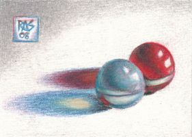 ACEO Two Marbles by robertsloan2