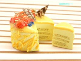 Polymer Clay Mango Mousse Cake Side View by panda314159