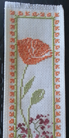 California Poppy cross stitch bookmark by sawcat