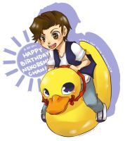 riding on a duck by inazumaookami