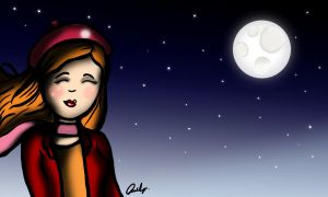 Girl and the Moon by Rubysnuff