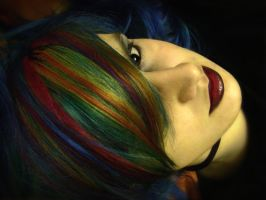 Colourful blue hair by littlehippy