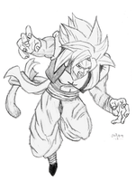 Gogeta SS4 Sketch by cheeeba
