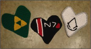 Crocheted Hearts - Video Games by RebelATS
